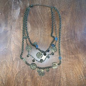 Jewelry - Triple Layer Antique Gold Coin Necklace